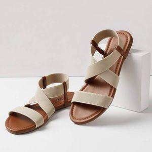 Shoes - Beige & Brown Elastic Strap Sandal